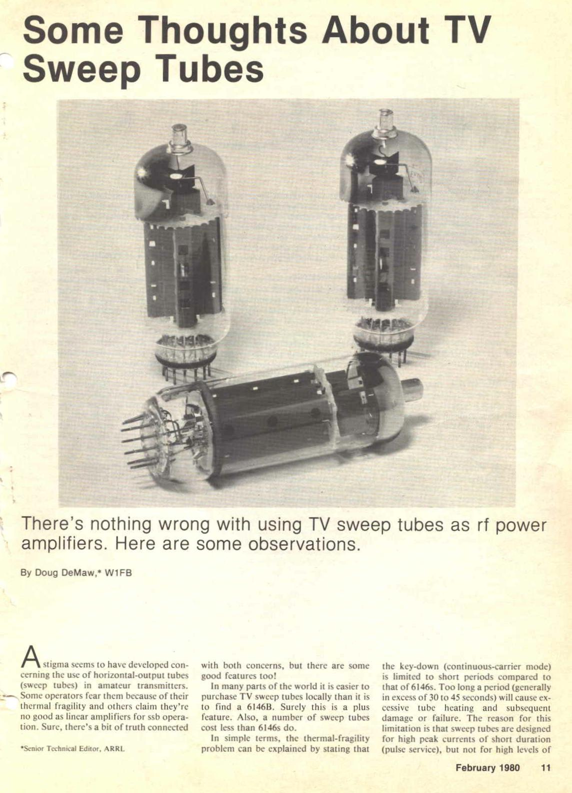 Some Thoughts About TV Sweep Tubes, part 1